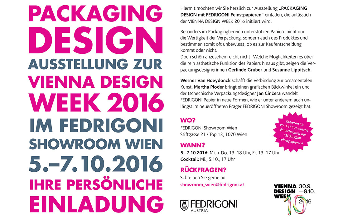 Vienna Design Week Fedrigoni Einladung
